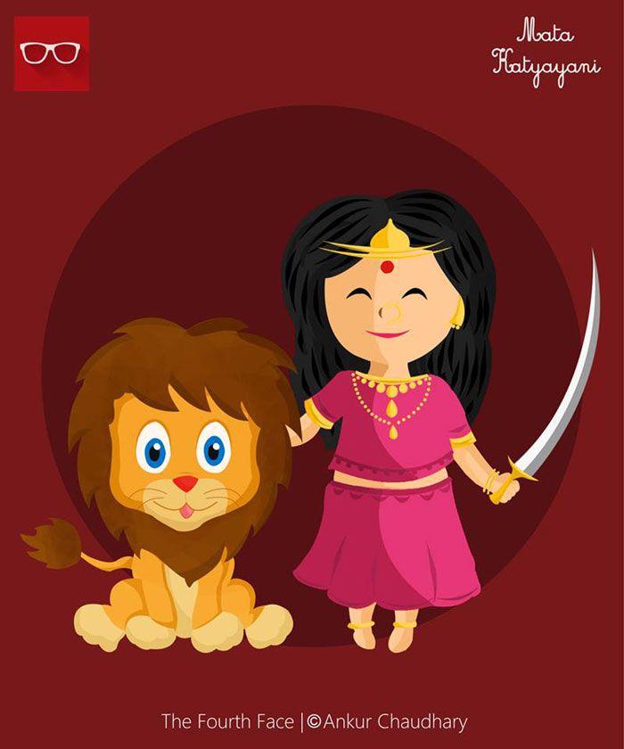 Illustration : Mata Durga in her Katyayani avatar