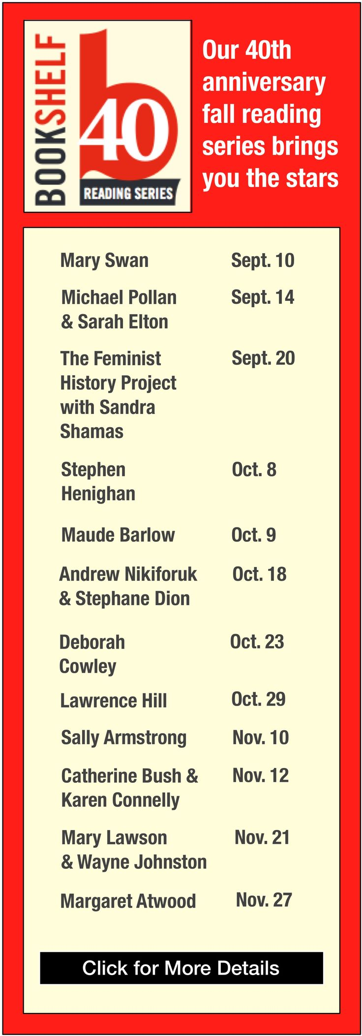 The Bookshelf launch of A Green Reef, Tuesday Oct. 8th, Guelph ON