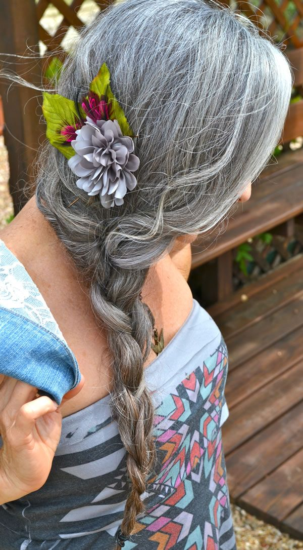 this reminds me of my moms platted hair, silver grey... I regularly wear flowers in my hair too...
