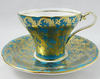 Blue Aynsley Tea Cup with Gold Chintz, Corset Shape, Vintage Bone China