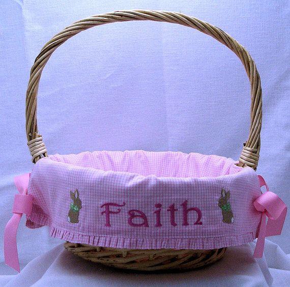 22 best baby easter basket images on pinterest easter baskets personalized easter basket for girls easter bunny liner natural willow basket negle Images