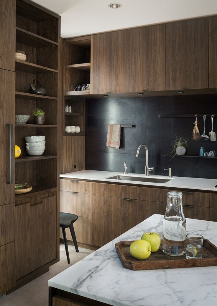 Küche Holzmöbel Naturstein Elegant