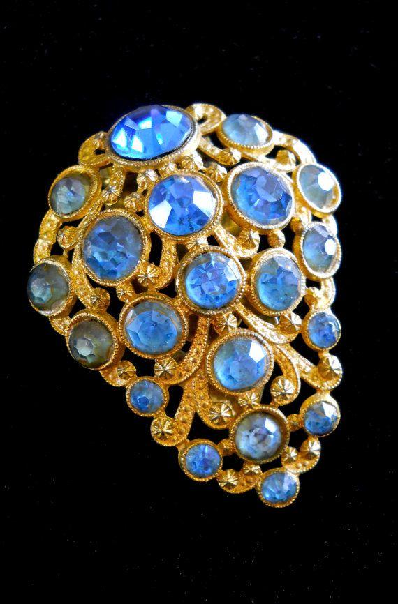 Blue Rhinestone Dress-Fur Clip Art Deco Antique by RenaissanceFair