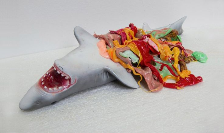 Stefan Gross, melted plastic sculptures  called Sustainable Trash