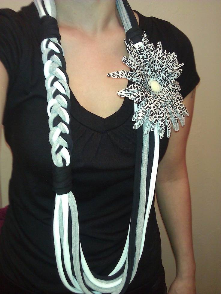 Recycled t-shirt necklace. Helpful tutorials here http://pureandsimplelife.wordpress.com/2011/10/14/8-simple-to-make-no-sew-variations-of-the-t-shirt-scarf-including-links-and-tutorials/#comment-329