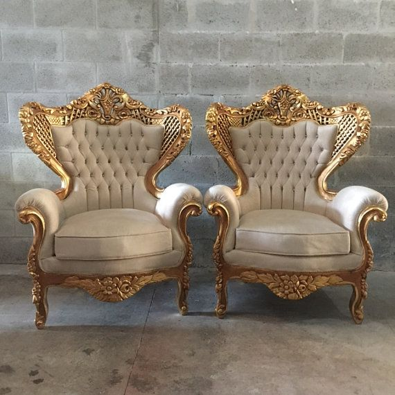 Pair of antique beige chairs with gold trim. - 25 Best Vintage Decor In Miami Images On Pinterest Antique