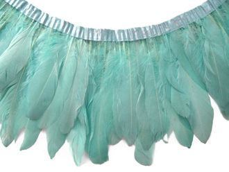 goose feather trim, mint feathers, nagoire trim