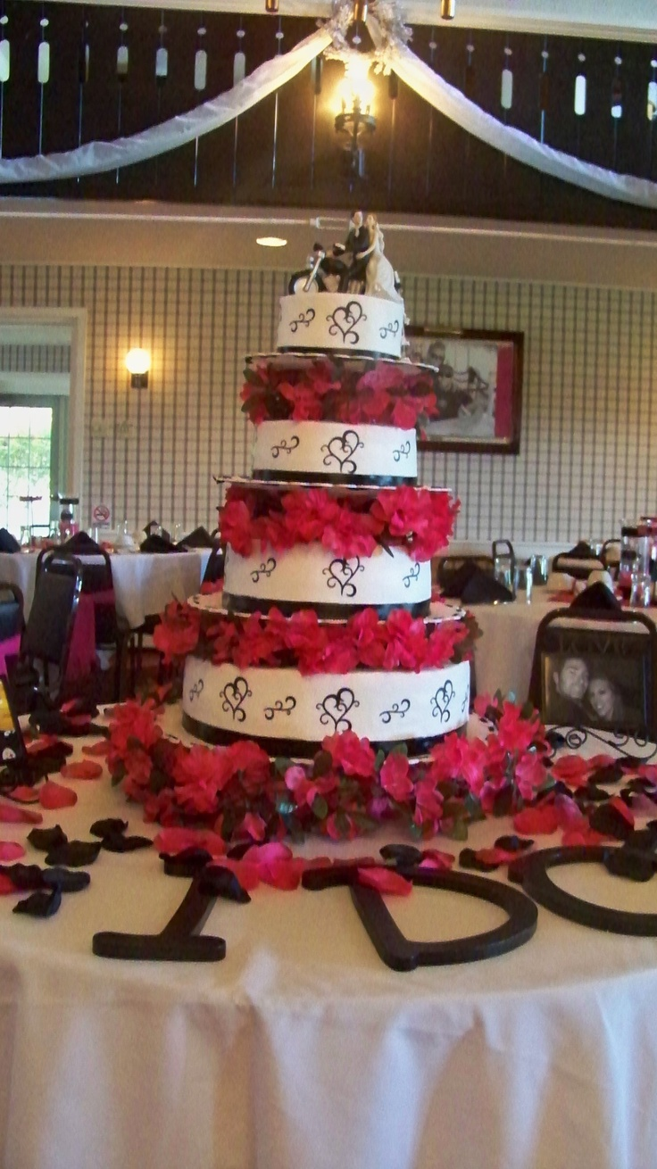 """""""I Do"""" hot pink and black wedding cake with Harley topper..."""