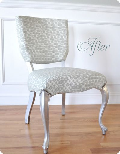 How to recover a chair: Chairs Makeovers, Vanities Chairs, Leaf Chairs, Silver Leaf, Centsat Girls, Old Chairs, Reupholst Chairs, Decor Blog, Chairs Redo