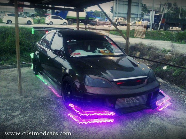 Honda Civic Kitted Out With Its Bright Neon Lights Honda