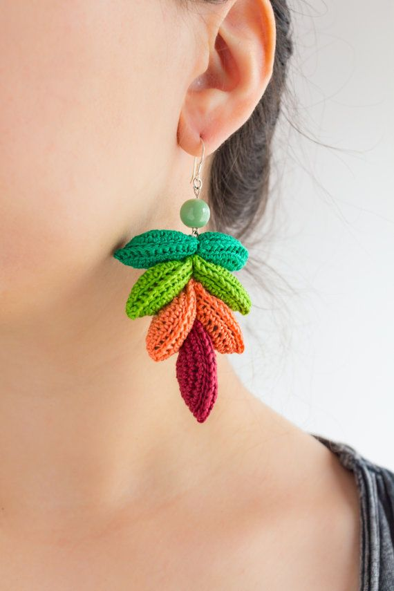 Colorful Crochet Earrings from CAESAR by LidaAccessories on Etsy