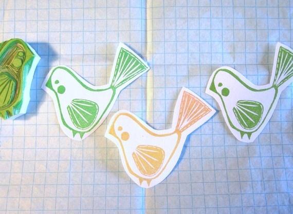 Wee Birdie Hand Carved Stamp