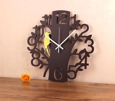 "Modern Cut-Out Tree w/Woodpecker 14"" Wall Clock 3 Colors"