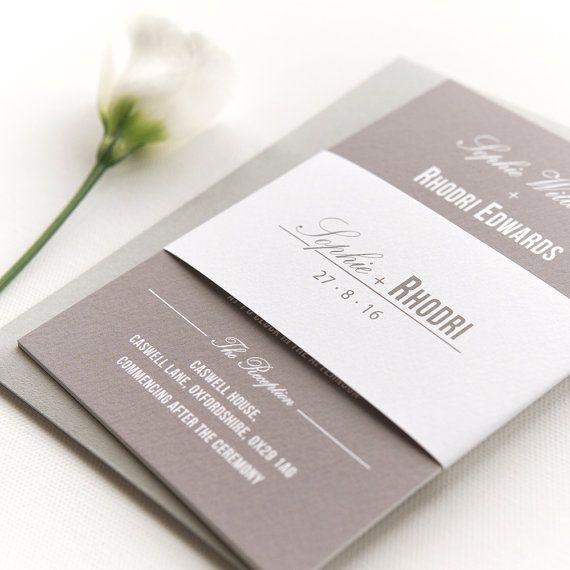 Traditional Style Wedding Invitation / Stone Grey - SAMPLE