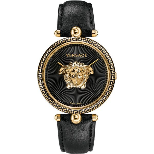 Versace Unisex Palazzo Medusa Watch ($1,670) ❤ liked on Polyvore featuring jewelry, watches, layered jewelry, bezel jewelry, dial watches, unisex watches and versace jewelry