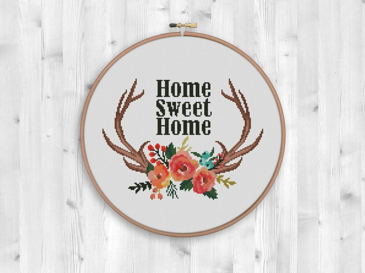BOGO FREE! Deer Cross Stitch Pattern, Wild Deer Antlers Flowers Counted Cross Stitch, Animals Modern Home Decor, PDF Instant Download #046-1 by StitchLine on Etsy