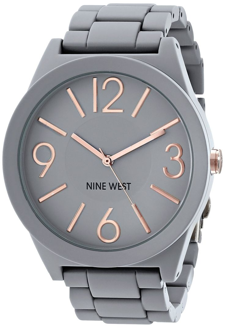 Amazon.com: Nine West Women's NW/1678GYRG Matte Grey Rubberized Bracelet Watch: Watches