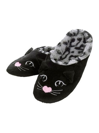 Mimi Cat Mule Slippers - Black Mix | Boux Avenue