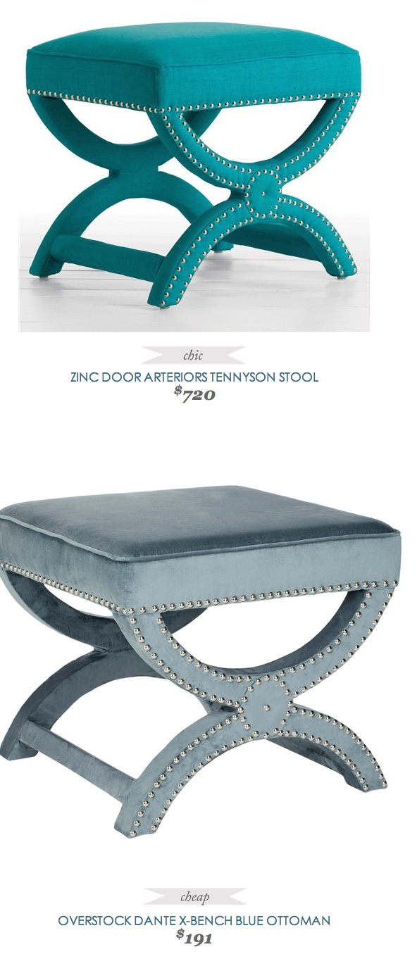 Copy Cat Chic Find | ZINC DOOR ARTERIORS TENNYSON STOOL vs OVERSTOCK DANTE X-BENCH BLUE OTTOMAN