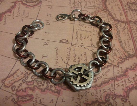 Steampunk Gear knut Charm  Bracelet by PawStitchCrafts on Etsy, $5.49