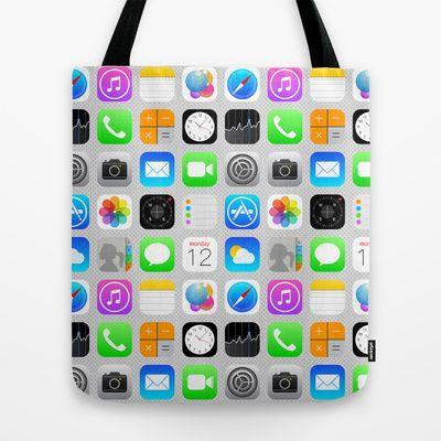 Phone Apps (Flat design) Tote Bag by Vannina - $22.00