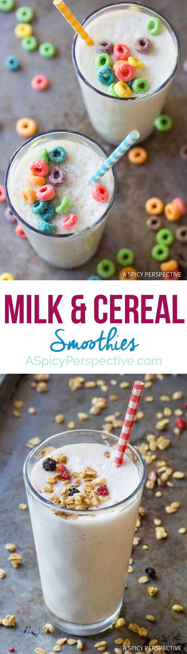 Love this Milk and Cereal Smoothie - Loaded with protein and just a handful of Cereal! ASpicyPerspective.com