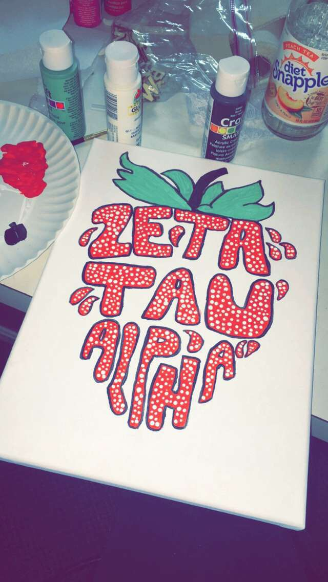 Zeta tau alpha strawberry canvas