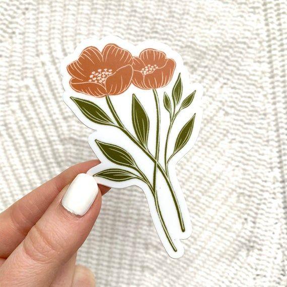 Orange Poppy Sticker 4x2 in. Etsy in 2021 Floral