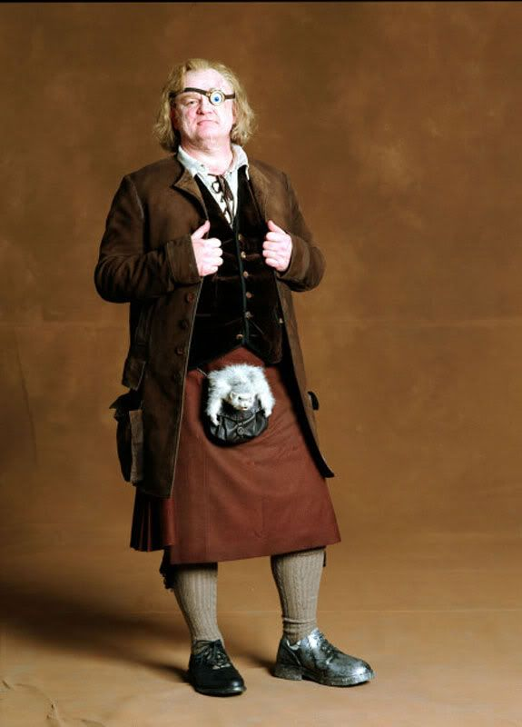 "Brendan Gleeson played Alastor ""Mad-Eye"" Moody in the Harry Potter Movies. Here he is as Mad-Eye ... in a kilt."
