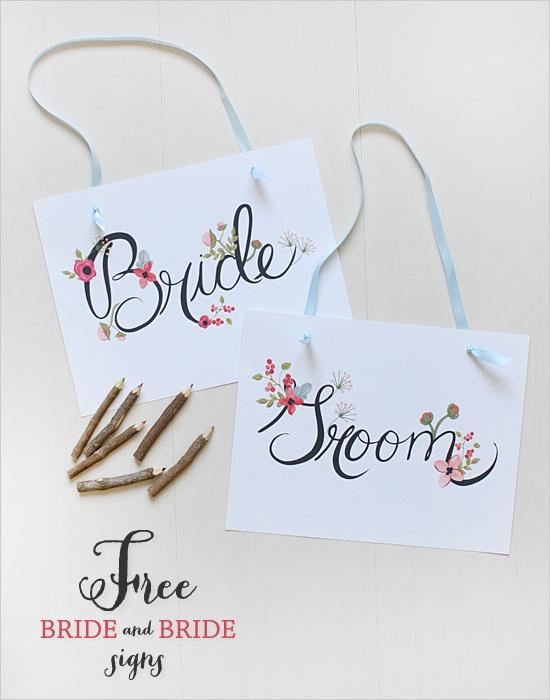 Cute Bride and groom signs