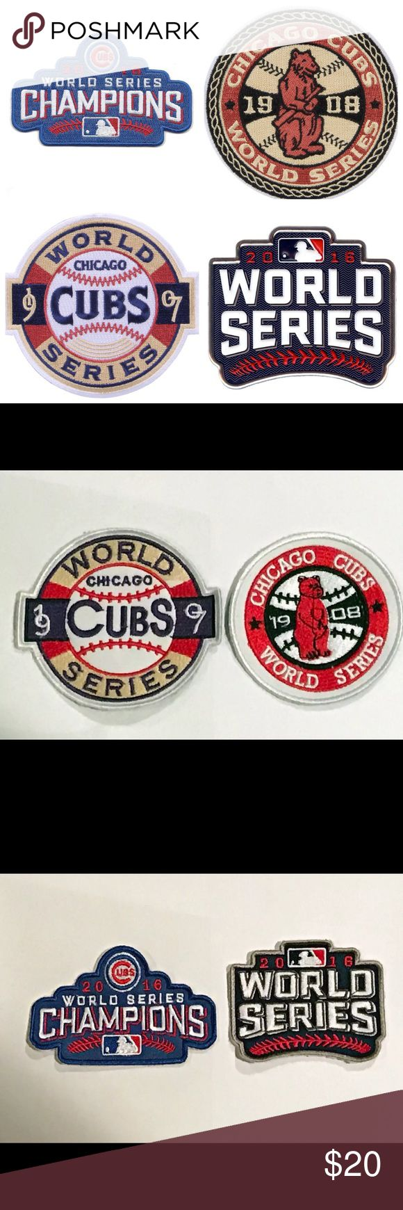 Chicago Cubs World Series Patch Collection (4) Chicago Cubs World Series Patch Collection. This set includes the 2016 World Series patch, the 2016 World Series Champions patch,the 1907 World Series and the 1908 World Series patches. A unique set to add to your collection at a great price. These retail from $10-$20 EACH. Grab them all for $20 shipped. Please check my listings for more Cubs merchandise including Majestic Athletic jerseys for Men, Women and Kids. Bryant. Rizzo. Baez. Contreras…