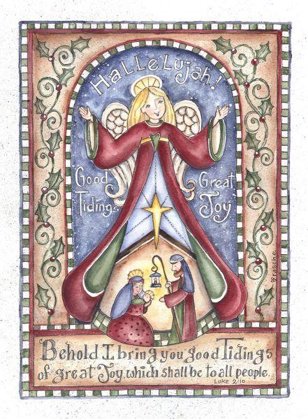 Jesus Nativity ~ Hallelujah Angel by Shelly Rasche folk art