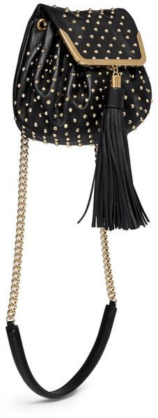Alexander Mcqueen Heroine Stud Flap Leather Bucket Bag in Black - Lyst