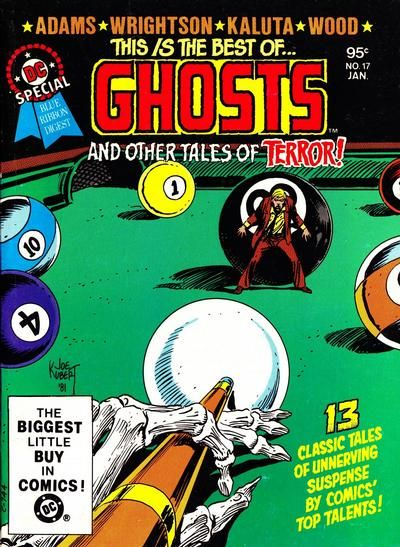 "Do you dare get past the Joe Kubert cover? DC challenges you to read reprints from miscellaneous spook comics, with the resident spook from ""Ghosts"" replacing those stories' particular hosts! Besides the names on the cover: Michael Fleisher, Sergio Aragones, Len Wein, Joe Orlando, Robert Kanigher, Dick Giordano, Gerry Conway, Alan Weiss, David Michelinie, Marv Wolfman, Rich Buckler. And you thought you weren't playing with a full rack."