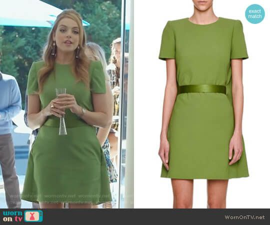 Fallon s green dress with cape on Dynasty. Outfit Details  https   wornontv eeffbd1b4