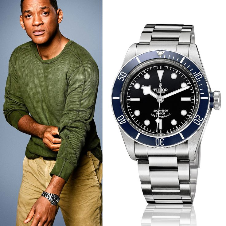 Will smith wears a tudor heritage black bay in blue on a stainless steel bracelet celebrity for Celebrity wearing rolex watches
