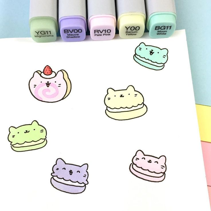 Pastel meowcarons and a kitty cake roll  Bon appétit! ☺️ • • #可愛い #かわいい #doodle #pastel #copicmarkers #macarons #kitty #cakeroll #catdoodle #kawaii #kitties #sketchbook #猫
