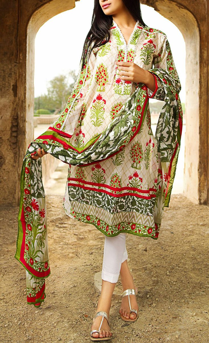 Buy Green Printed Cotton Lawn Dress by Khaadi Lawn Collection Vol.II 2015.