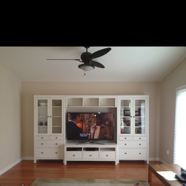 Ikea Hemnes Cabinets In Upstairs Bedroom On Either Side Of The Window With A Bed Or Tv Stand Shown Here