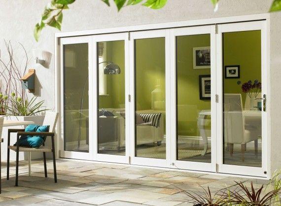 Ultra External Sliding Folding Doors 3.6M (12ft) double glazed in White Aluminium and Oak.