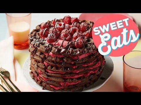 (5) How to Make a Chocolate-Raspberry Waffle Cake   Food Network - YouTube