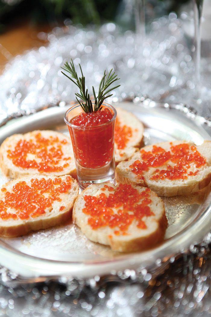 Masquerade au ch teau delicious red caviar crostini perfect with vodka or champagne - Cuisine au champagne ...