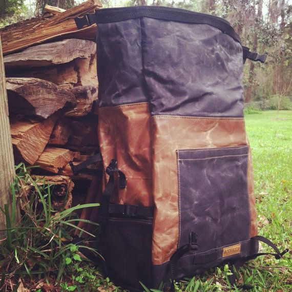 Waxed Canvas Backpack, Bicycle Backpack with roll top