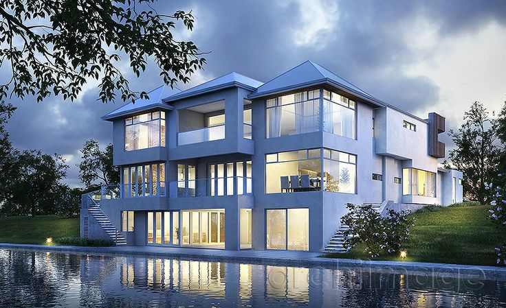 Architectural Render of a classic contemporary canal house. House designed by Boyd Design Perth.