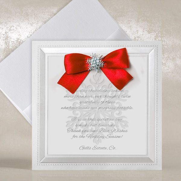 White Corporate Christmas Cards - Snowflake & Red Bow - Polina Perri