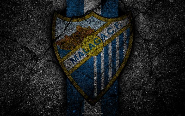 Download wallpapers Malaga, logo, art, La Liga, soccer, football club, LaLiga, grunge, Malaga FC