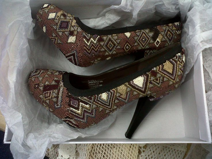 Hand beaded shoes by Zulu beader Lindi. From Hillcrest, South Africa.