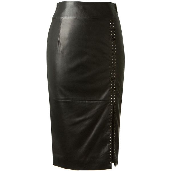 Alexander McQueen black leather pencil skirt found on Polyvore