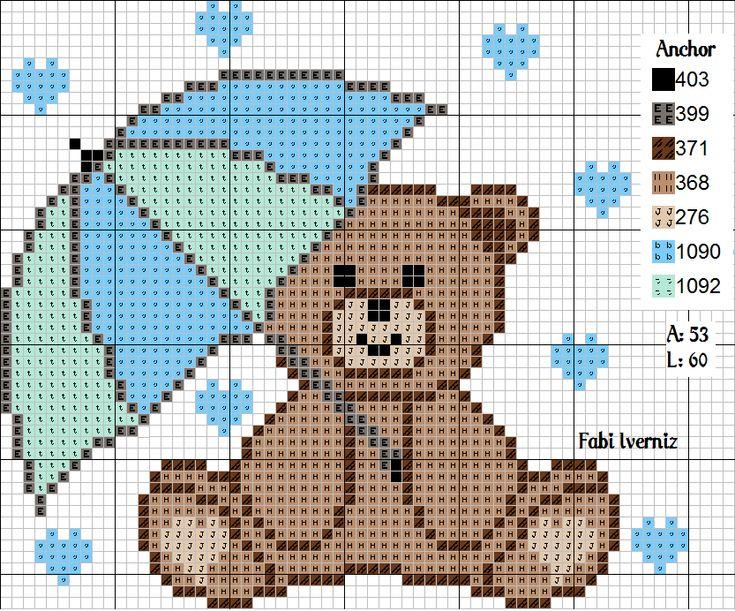 Ursinho chuva de amor ponto cruz