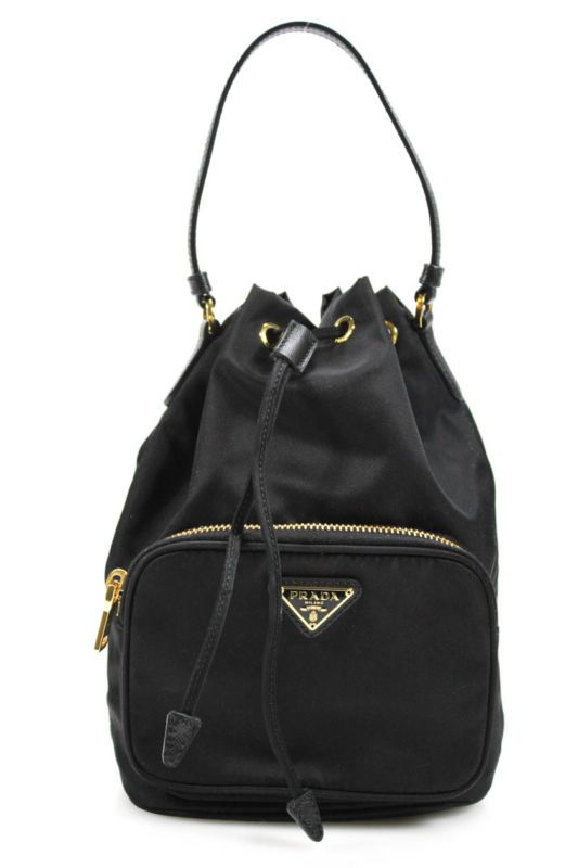 ab723aa9ad Prada Leather Straps Black Nylon Drawstring Bucket Crossbody Handbag Prada  Bag
